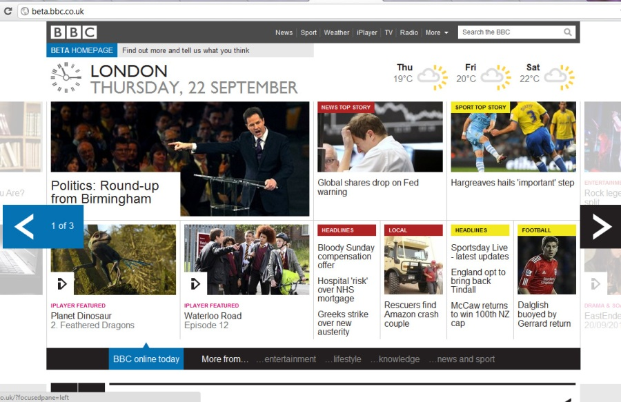 The BBC Test Run New Homepage Design – Sliding Drawers